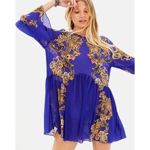 FREE PEOPLE Printed Symphony Slip Tunic/Mini Dress